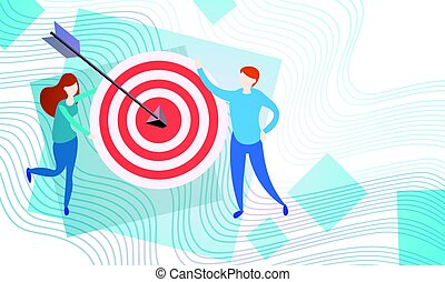 Business People With Target Aim Strategy Success