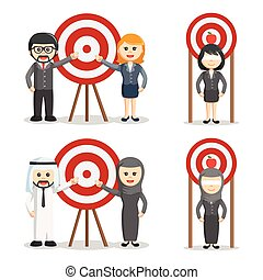 business people with target set