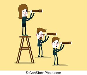 Business people with telescope. - leadership vision concept....