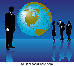 Business people with the earth