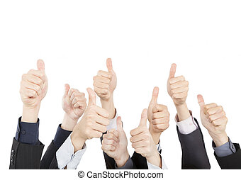 Business People with Thumbs Up isolated on White Background
