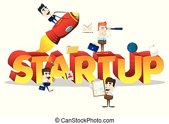 Business people with word Start Up.