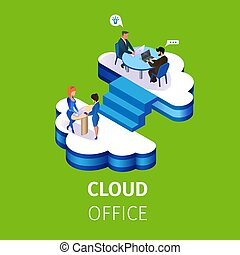 Business People Work in Multistorey Cloud Office