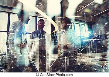 Business people work together in office. Concept of teamwork and partnership. double exposure with modern city and light effects