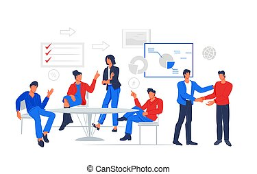 Business people working at office, meeting and negotiating in conference room, flat vector.