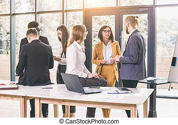 Business people working in conference room. Business People Office Working Discussion Team Concept. Group Of Happy Multiracial Businesspeople