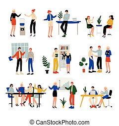 Business People Working in Office Set, Colleagues Working Together, Communication Between Coworkers, Friendly Environment, Corporate Culture Vector Illustration
