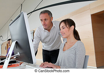Business people working in the office on computer
