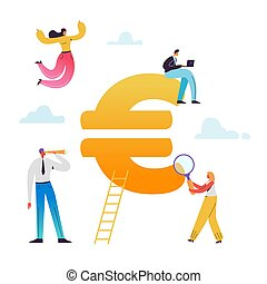 Business People Working on Euro Sign. European market, Financial Consultation, Savings, Economy, Profit Concept. Vector illustration