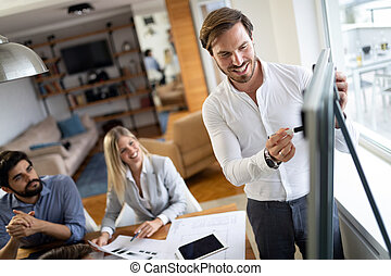 Business people working on meeting in a modern office