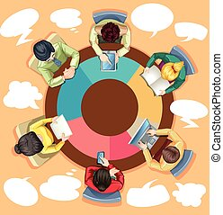 Business people working on the round table illustration