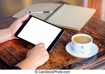 Business people working tablet with coffee and notebook.