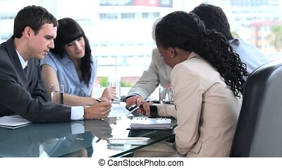 Business people working together on a document