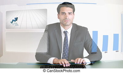 Business people working with charts - Animation of business...