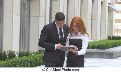 business people working with digital tablet