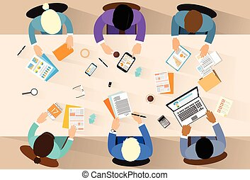 Business people workplace top angle above view sitting at ...