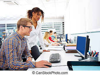 Business people young multi ethnic computer desk - Business...