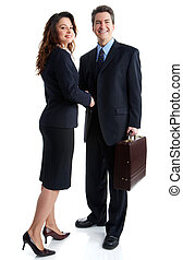 Young smiling business woman meeting a man