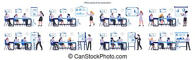 Business pepole making presentation in front of group of co-worker set. Presenting business plan on seminar. Pointing at the graph. Flat vector illustration