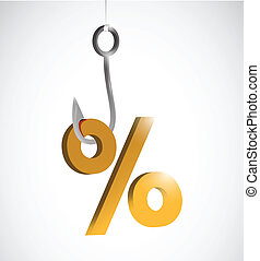 business percentage sign and hook illustration design over a...