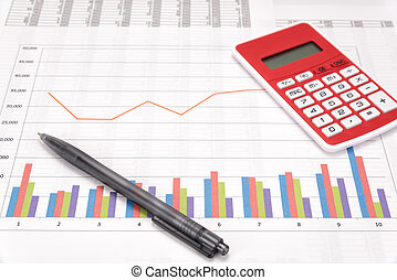 Business performance analysis. Business Graphs with...