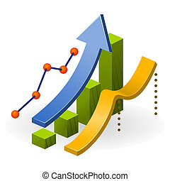 Business Performance Chart - Ascending diagram with arrow...