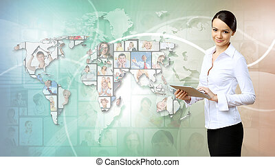 Business person against technology background - Collage with...