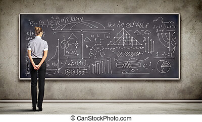 Business person against the blackboard - Business person...