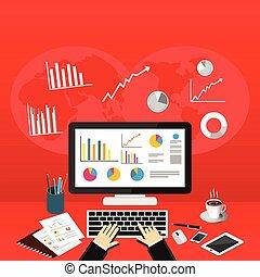 Business Person Analyzes Data Economy Statistics.