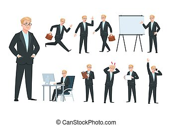 Business person. Businessman character, professional worker in different office business activity. Cartoon isolated vector collection
