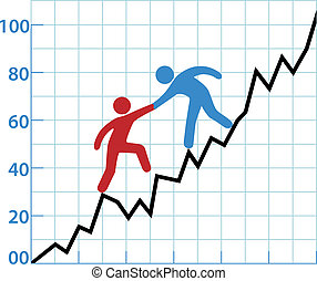Business person chart help red ink to profitability -...