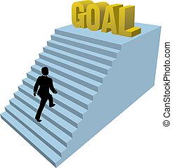 Business person climbs steps achiev - Business man climbs up...
