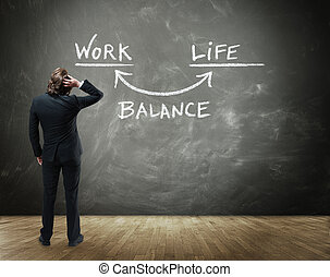 Business Person Contemplating Work Life Balance - Rear View...