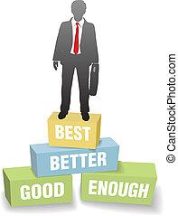 Business person good better best achievement - Improvement ...