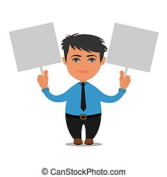 business person holding empty boards, cartoon, vector illustration