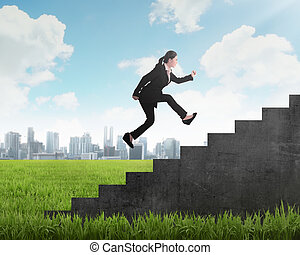 Business person jump to the highest stair