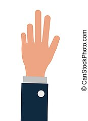 business person one hand up, isoalted vector illustration
