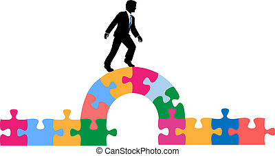 Business person puzzle bridge to solution - Business man...