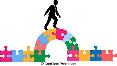 Business person puzzle bridge to solution - Business man...