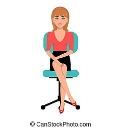 business person sitting on office chair vector illustration...