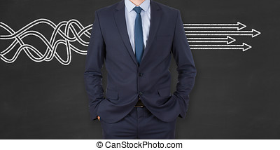 Business Person Solution Concept on Chalkboard Background