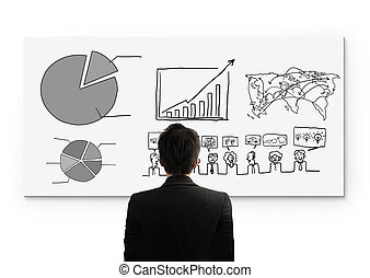 Business person standing near  White Board