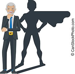 A mature business man revealed as super hero by his superhero silhouette shadow