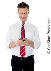 Happy business person busy texting against white background