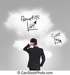 business person thinking about cost and benefits problem, asian model