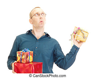Business person throwing a gift