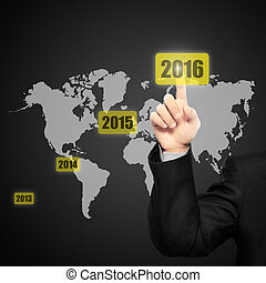 Business person touching 2016 year button