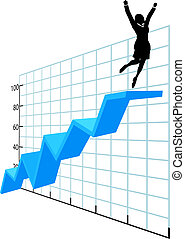 Business person up on company growth success chart