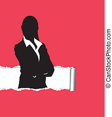 business person - person on a ripped paper background