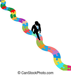 Business person walks on puzzling path to solution - ...